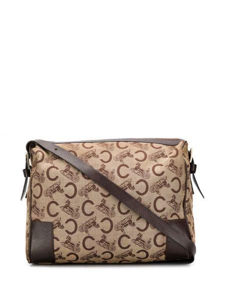 Золотистая коричневая парусиновая сумка на плечо на молнии Céline Pre-owned