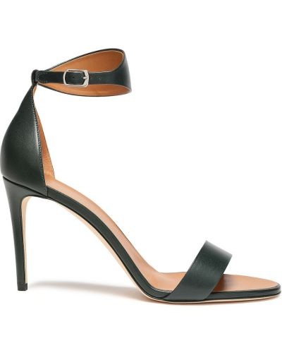 Zielone sandały skorzane klamry Victoria Beckham