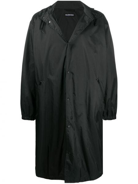 Czarny płaszcz przeciwdeszczowy z długimi rękawami materiałowy Balenciaga