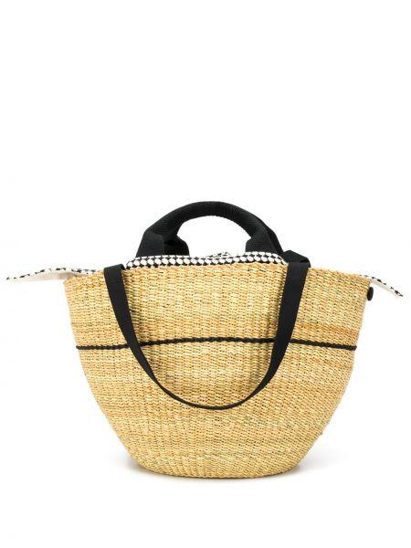 Бежевая соломенная пляжная сумка с баской Muun