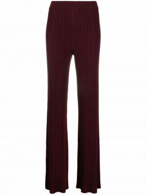 Prążkowane spodnie z wiskozy rozkloszowane Mrz