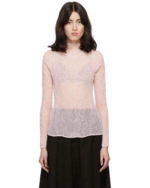 Блузка с длинным рукавом с воротником-стойкой розовая Issey Miyake