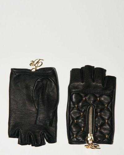 Czarne rękawiczki skorzane Dsquared2