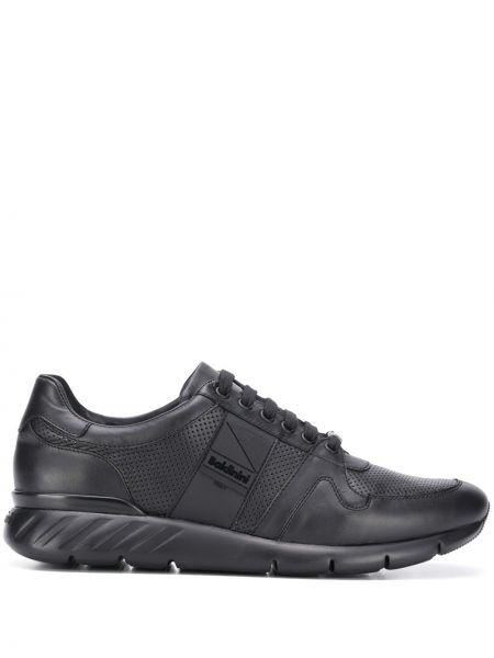 Кожаные черные кроссовки с перфорацией на шнуровке Baldinini