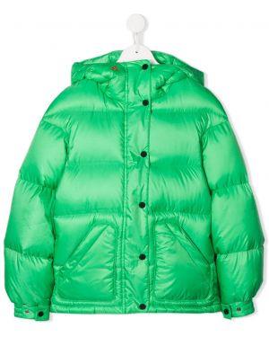 Zielony płaszcz z kapturem z długimi rękawami Perfect Moment Kids