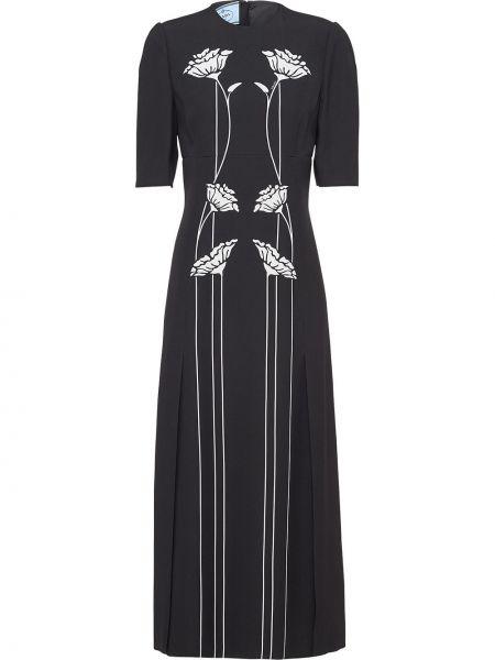 Черное расклешенное платье миди с вырезом на молнии Prada