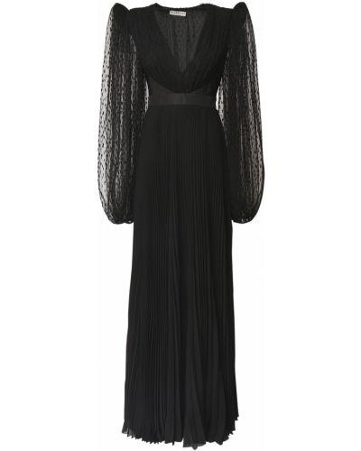 Плиссированное платье макси из фатина с декольте со вставками Givenchy