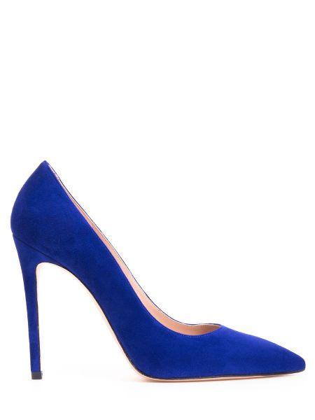 Кожаные синие туфли-лодочки с декоративной отделкой Stuart Weitzman