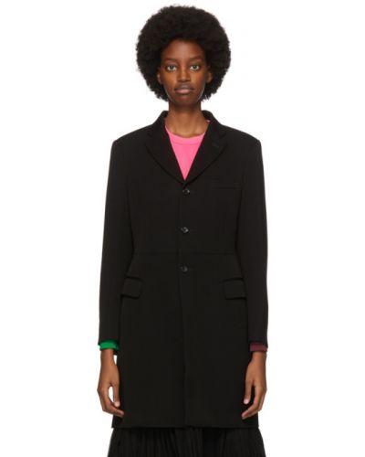 Шерстяное черное длинное пальто с воротником Comme Des Garçons
