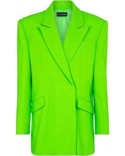Зеленый шерстяной пиджак стрейч David Koma