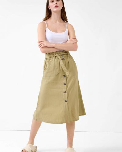 Zielona spódnica midi z wiskozy zapinane na guziki Orsay