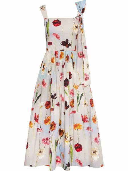Плиссированное платье - белое Oscar De La Renta