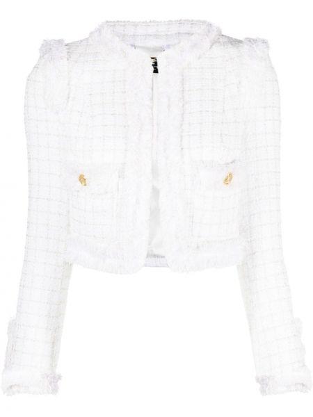 Хлопковая белая длинная куртка с карманами Elisabetta Franchi