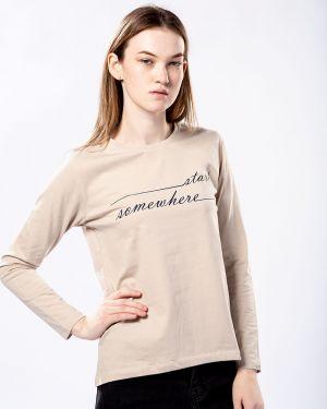 С рукавами коричневая хлопковая футбольная футболка Samo