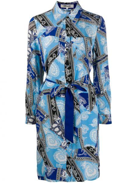 Шелковое платье макси на пуговицах с воротником с длинными рукавами Dvf Diane Von Furstenberg