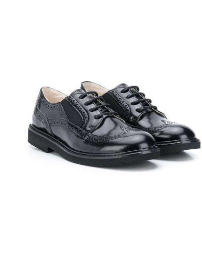 Koronkowa czarny buty brogsy z prawdziwej skóry zasznurować Montelpare Tradition