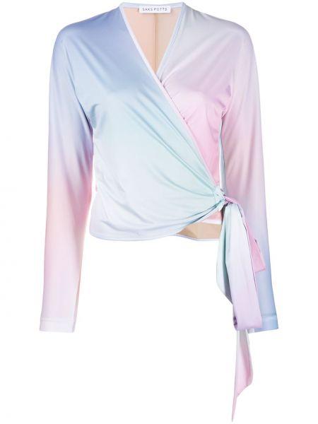 Блузка с длинным рукавом в полоску с запахом Saks Potts