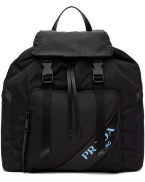 Кожаный рюкзак на молнии нейлоновый Prada