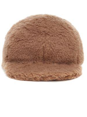 Brązowy wełniany czapka z daszkiem przycięte Max Mara
