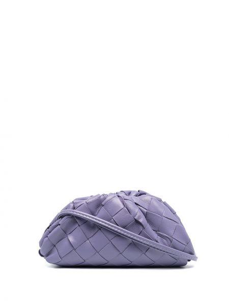 Фиолетовый кожаный кошелек для монет с тиснением Bottega Veneta