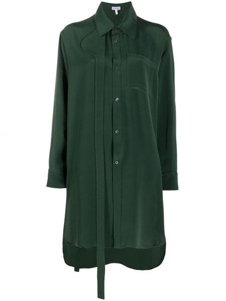 Шелковая классическая рубашка с воротником с карманами с заплатками Loewe