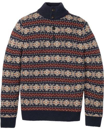 Шерстяной синий пуловер Bonprix