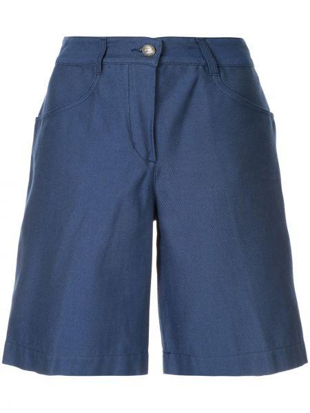 Синие хлопковые классические брюки с карманами Chanel Pre-owned