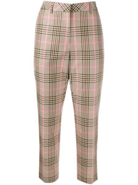 Брючные розовые укороченные брюки с поясом с манжетами Mulberry