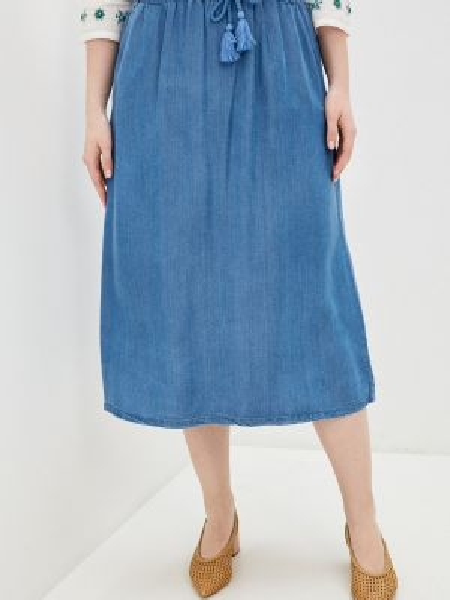 Юбка широкая синяя Ulla Popken