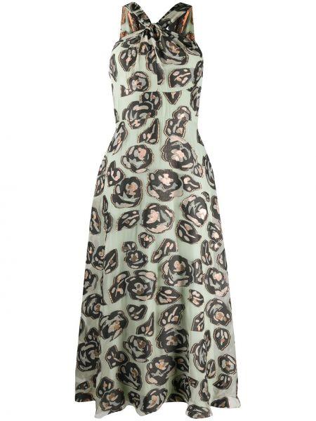 Зеленое расклешенное приталенное шелковое платье миди Temperley London