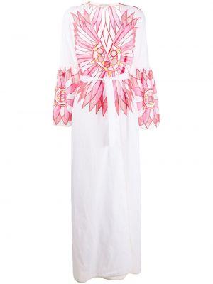 С рукавами белое платье макси с запахом Emilio Pucci