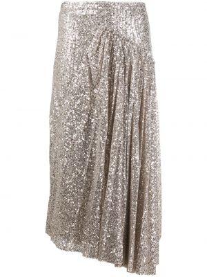 Серебряная юбка миди на молнии с пайетками с драпировкой Rochas