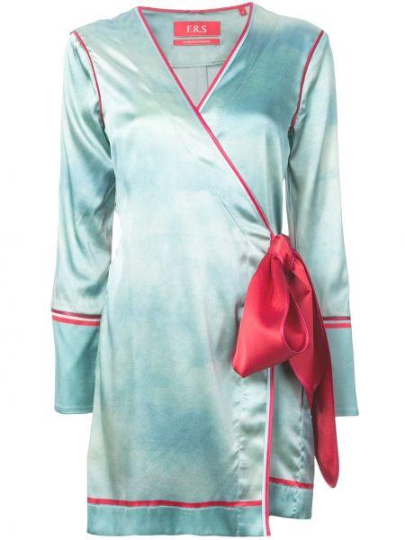 Niebieska sukienka mini kopertowa z długimi rękawami F.r.s For Restless Sleepers
