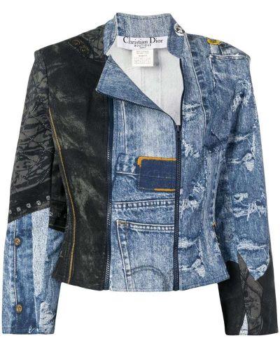Приталенная синяя джинсовая куртка на молнии Christian Dior Pre-owned