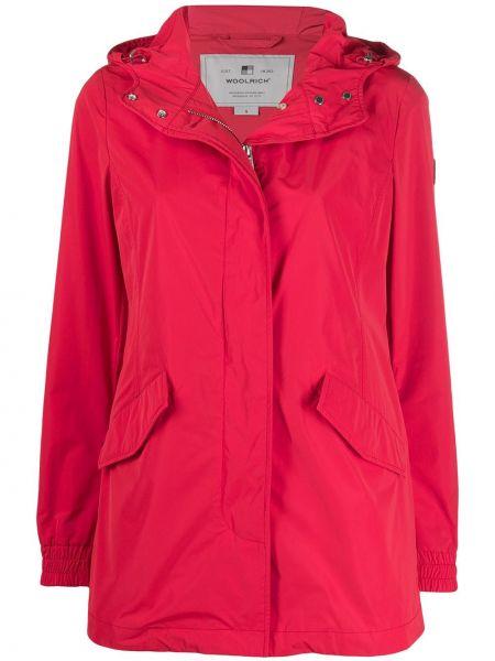 Красное шерстяное длинное пальто на пуговицах Woolrich