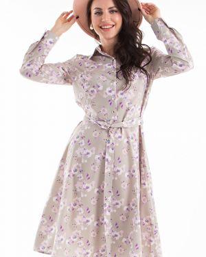 Платье с поясом с цветочным принтом классическое Lady Taiga