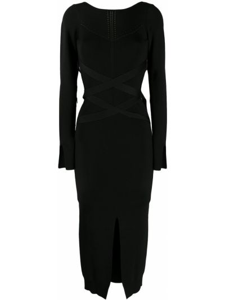Черное приталенное платье на шнуровке с разрезом Patrizia Pepe