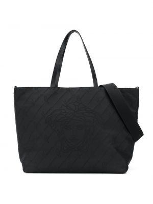Czarna torba na ramię bawełniana z haftem Young Versace