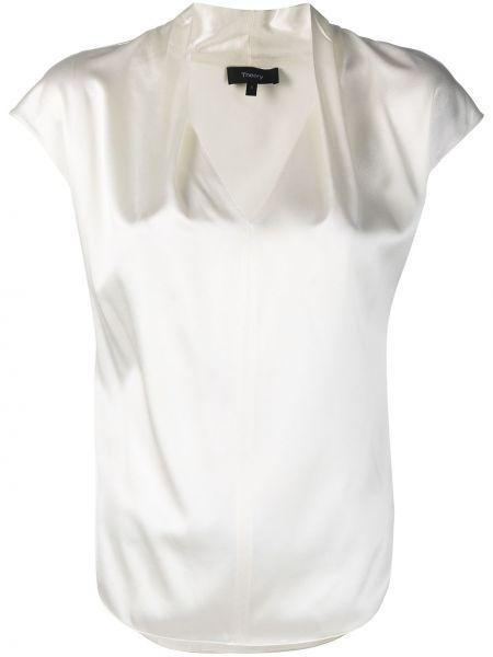 Шелковая белая блузка с короткими рукавами Theory