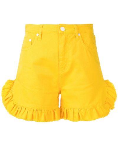 Джинсовые шорты с оборками желтый Msgm