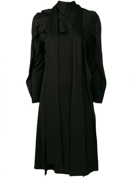 Плиссированное черное платье макси с длинными рукавами Koché