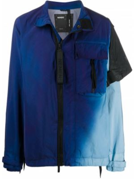 Niebieska długa kurtka z nylonu z długimi rękawami Nemen