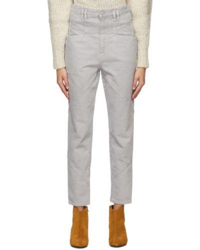 Bawełna prosto niebieski jeansy na wysokości z kieszeniami Isabel Marant