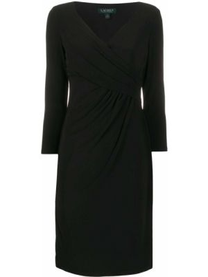 Czarna sukienka koktajlowa kopertowa z dekoltem w serek Polo Ralph Lauren
