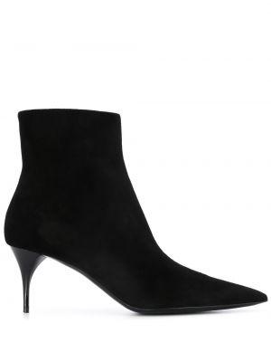 Сапоги на шпильке черные на высоком каблуке Saint Laurent