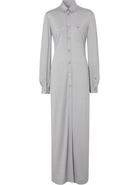 Шелковое серое платье на пуговицах с воротником Burberry