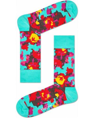 Бирюзовые колготки с узором Happy Socks