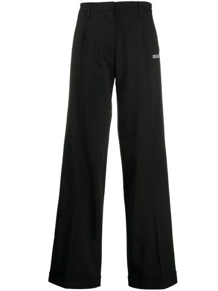 Spodni szerokie spodnie z kieszeniami z wiskozy bezpłatne cięcie Off-white