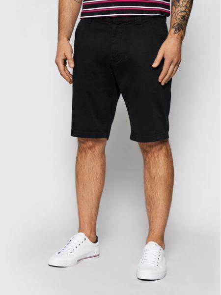 Czarne szorty jeansowe materiałowe Tommy Jeans