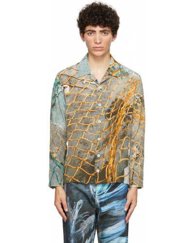 Koszula z długimi rękawami z jedwabiu perły Serapis